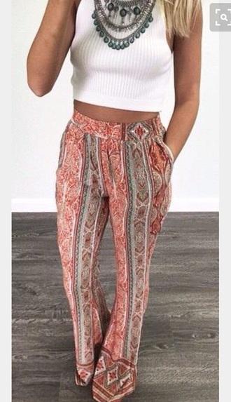 pants print palazzo pants boho hippie