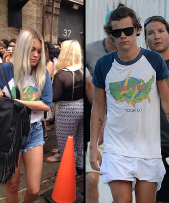 t-shirt harry styles kara harry one direction white blue shirt