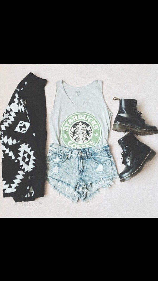 cardigan black white starbucks coffee ethnic