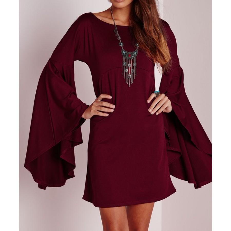 Maroon Bell Sleeve Shift Dress