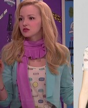 scarf,purple,purple scarf,blonde hair,dove cameron,liv and maddie,jacket,cropped,crop,blue,blue jacket,cropped jacket,shirt,top,white,macaroon