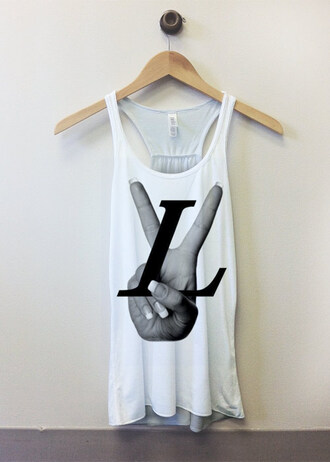 tank top white peace white tank top black and white urban hip hop hand
