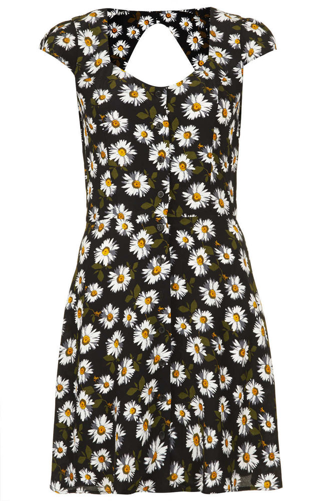 TOPSHOP Daisy Floral Print Open Back Cutout Tea Dress 6 8 34 36 2 4 Bloggers | eBay