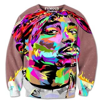 colorful crewneck dope tupac unisex fvmous clothing legend icon rapper rap artist streetwear