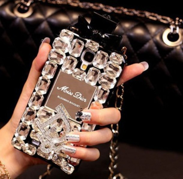 Marble Nail Polish Phone Case: Phone Cover: Iphone Case, Clear, Stone, Rhinestones, Nails