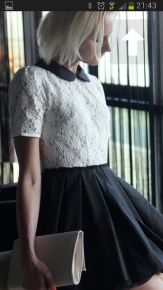 shirt lace peter pan collar collar white black cute