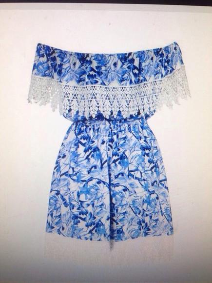 blue dress lace dress white