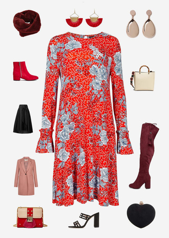 not dressed as lamb - over 40 fashion blog blogger dress jeans shoes bag jewels ankle boots red dress boots