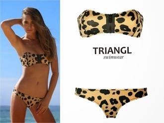 swimwear triangl leopard print bikini bandeau style bikinis 2015 bikini's