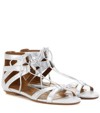 metallic sandals suede silver shoes