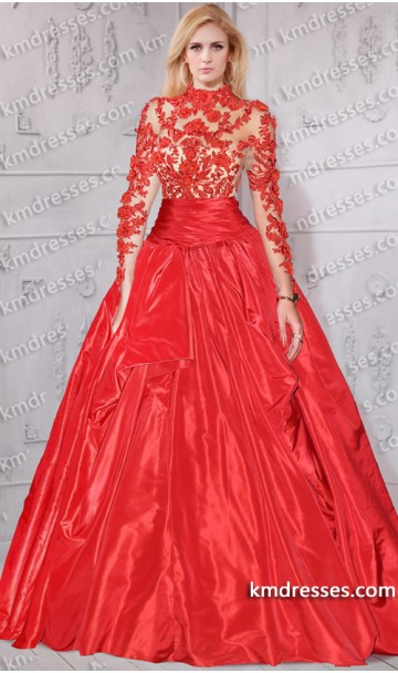 Gorgeous sheer illusion lace bodice longsleeve taffeta ball gown inspired by rita ora at mtv ema 2012