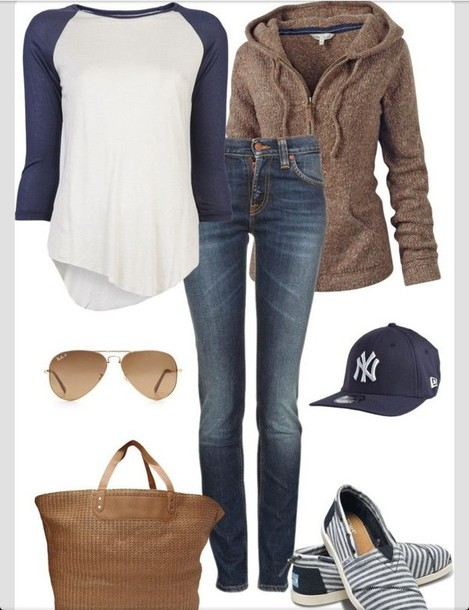 shirt baseball tee sweater brown cozy jacket new york city fall outfits new york city outfit brown hoodie cap knitted sweater cardigan zip zip hoodie bag big big purse blouse white navy jeans