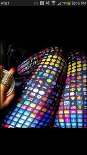 pants,emoji print,leggings