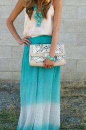 skirt,turkise,style,summer outfits,beach,long skirt,maxi dress,maxi skirt,cute skirt,top,blouse,nude,white top,jewels