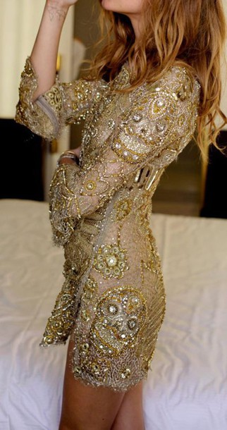 dress beaded long sleeves mini dress gold