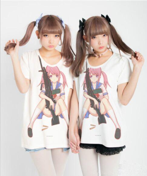 gun machine gun anime anime shirt asian fashion japanese fashion tokyo fashion harajuku fashion gun shirt kawaii kawaii fashion