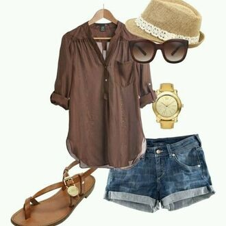 blouse brown brown blouse loose oversized sandals shorts sunglasses love flat sandals
