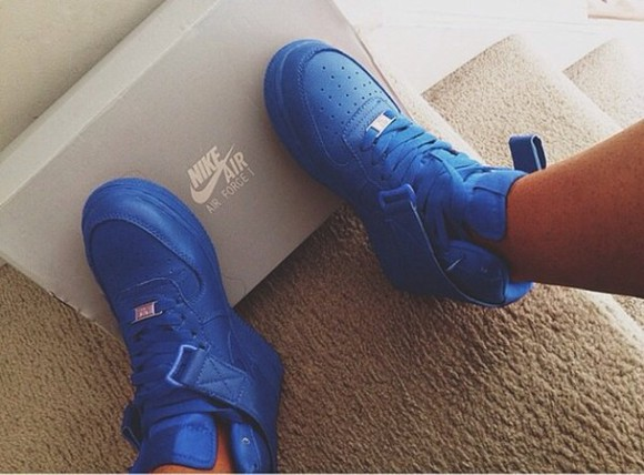 shoes blue air force ones blue sneakers high top sneaker