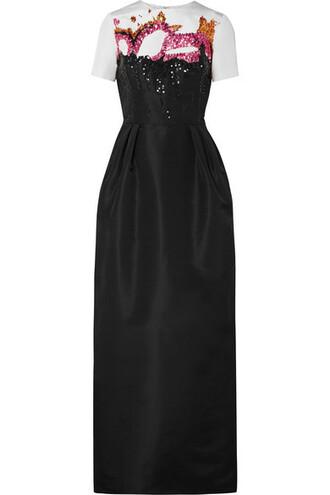 gown embellished black silk dress