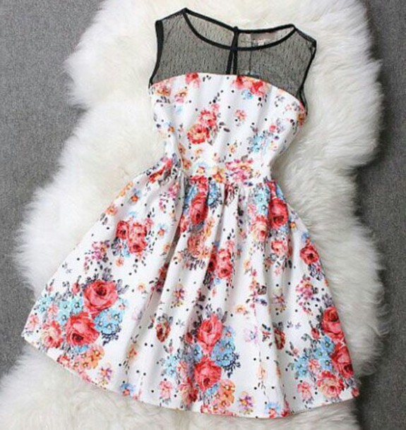8603c29f0ccd dress flowers short dress lace dress floral dress floral mesh girly polka  dots white dress floral