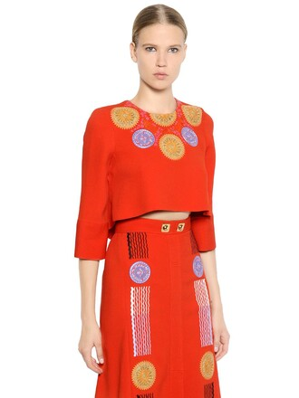top embroidered cropped red