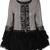 Grey Contrast Fur Long Sleeve Bead Outerwear - Sheinside.com