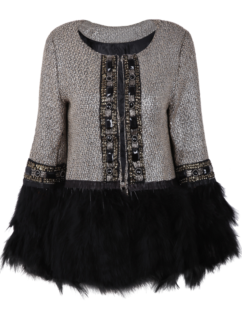 Grey Contrast Fur Long Sleeve Bead Outerwear - Sheinside.com