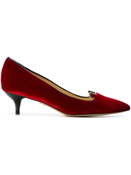 charlotte olympia heel women pumps leather velvet red shoes