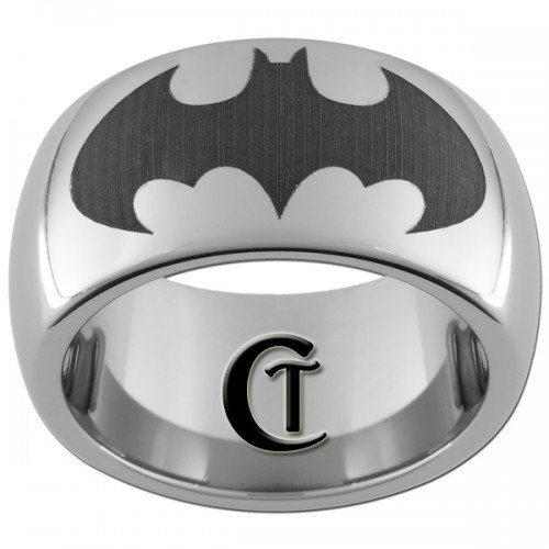 10mm Tungsten Carbide Batman Laser Design Ring Sizes 5-17 | CustomTungsten - Jewelry on ArtFire on Wanelo