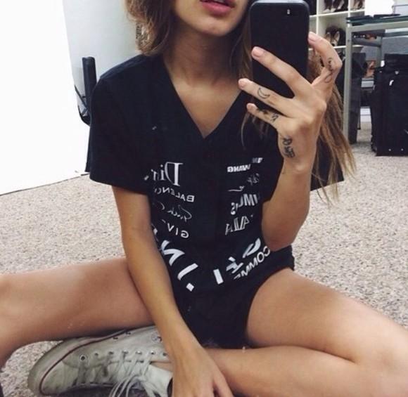 shirt dior balenciaga givenchy black white baseball tee brands converse grunge
