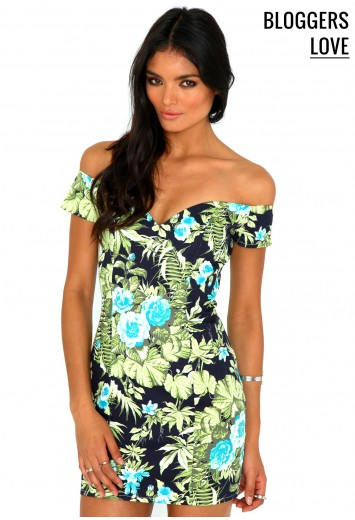 Lotye Floral Bardot Bodycon Dress - dresses - day dresses - missguided