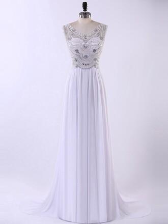 dress gown elegant formal dress silver fashion homecoming dress prom dressofgirl