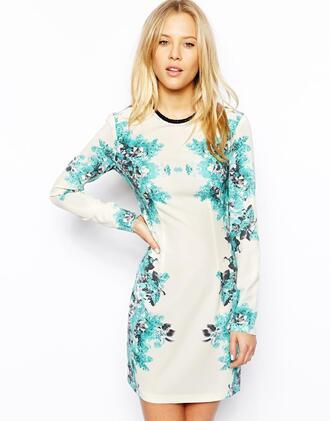 dress longarmed dress floral dress white dress mint