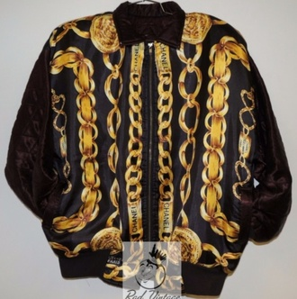 jacket black background chanel gold graphic chain swag bomber jacket jumper bag