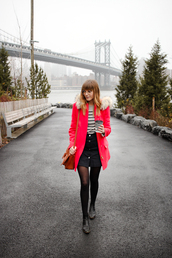 steffy's pros and cons,blogger,coat,skirt,t-shirt