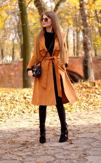 only my fashion style blogger jewels coat belt bag fall outfits crossbody bag ankle boots