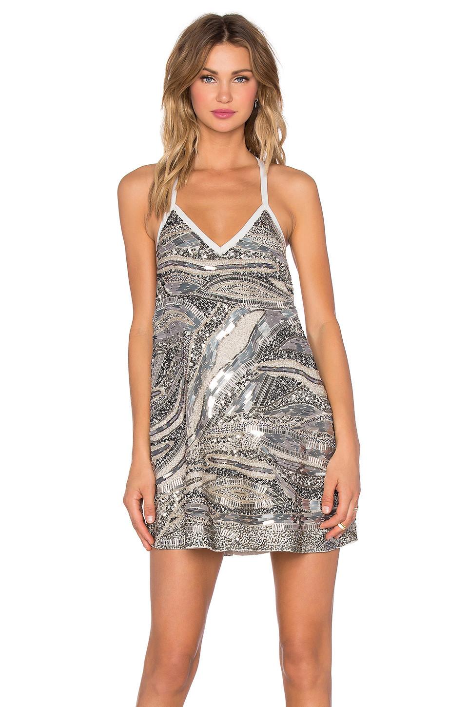 7ceda42c283 NBD Sloan Dress in metallic   silver - Wheretoget