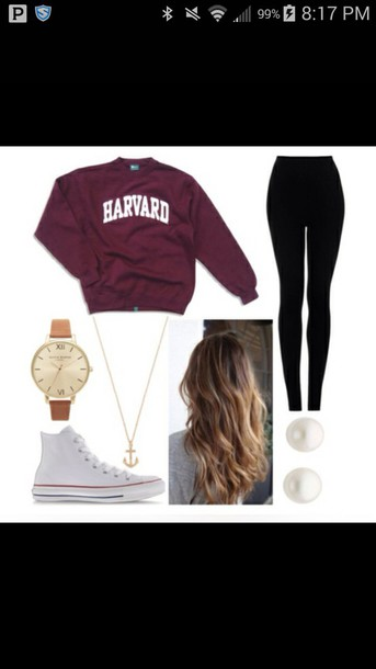 jacket sweatshirt harvard pants hair