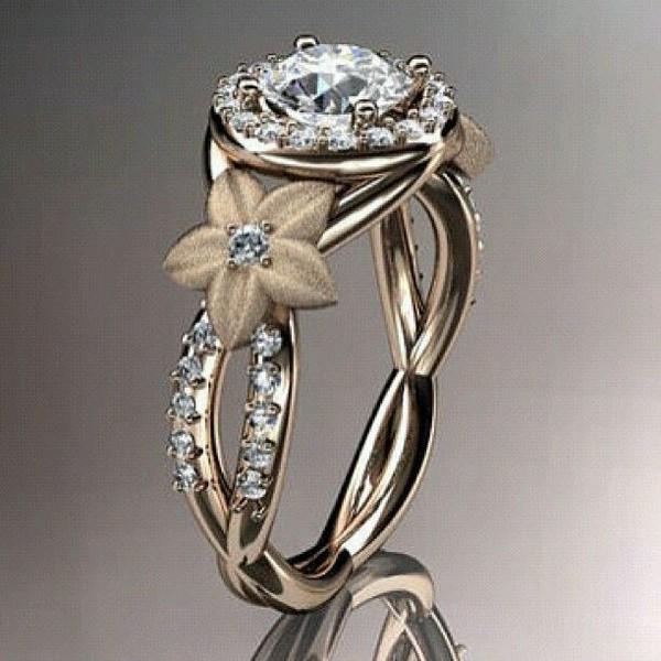 14kt rose gold diamond unique flower engagement ringwedding ring 14kt rose gold diamond unique flower engagement ringwedding ring adlr374 junglespirit Choice Image