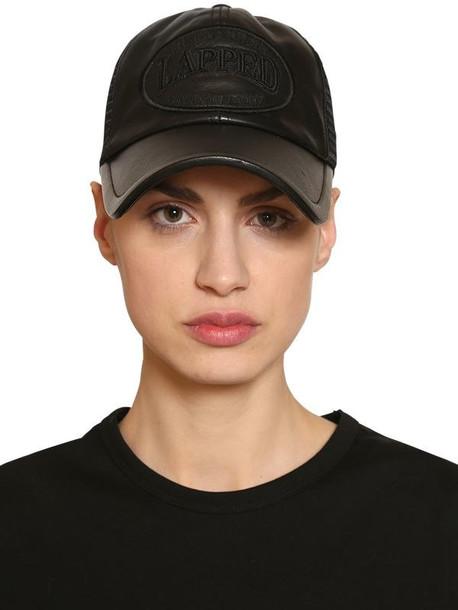 JUUN.J Leather & Mesh Trucker Hat W/ Patch in black