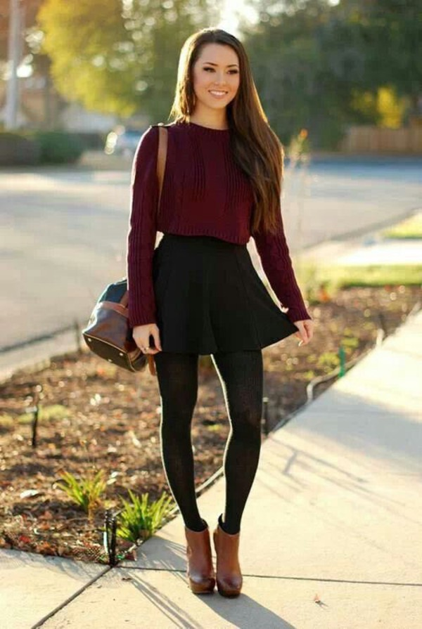 shoes fall outfits leather wedges desert color ankle boots skirt same colour blouse burgundy sweater red sweater top red crop tops comfy long sleeves girly fall outfits idsbook beautiful cute outfits nice