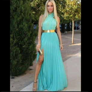 Elegant High Neck Chiffon Sexy Side Slit Evening Dress Prom Dress - Juicy Wardrobe