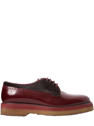 shoes leather burgundy