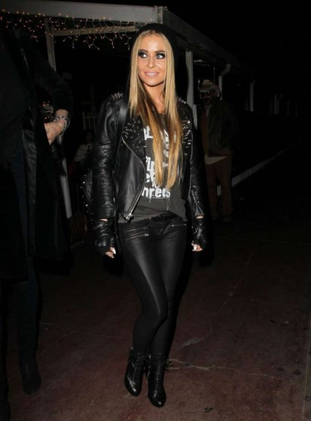 carmen electra fall outfits leather jacket leather pants studded jacket