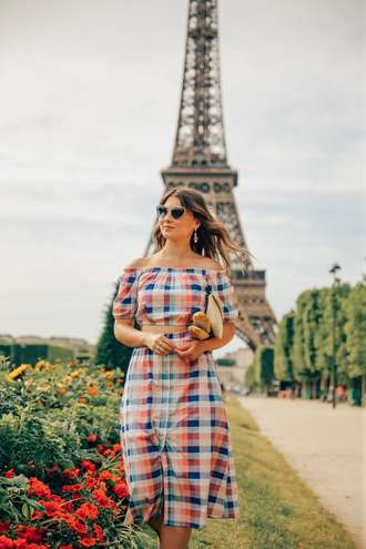top tumblr tartan co ord matching set skirt midi skirt crop tops off the shoulder off the shoulder top sunglasses