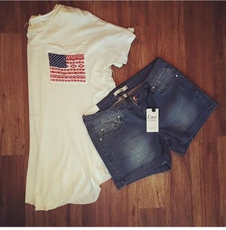shirt shorts cute july 4th red white t-shirt white bule summer outfits summer american flag
