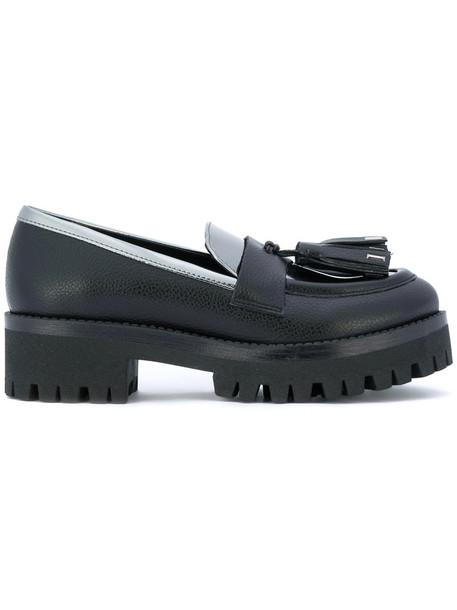 Pollini tassel women loafers leather black shoes