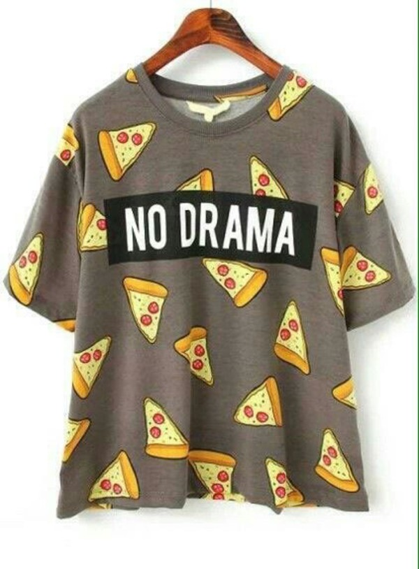 c1e79a331 Women's T-Shirt Printed NO DRAMA Pizza Letter Print