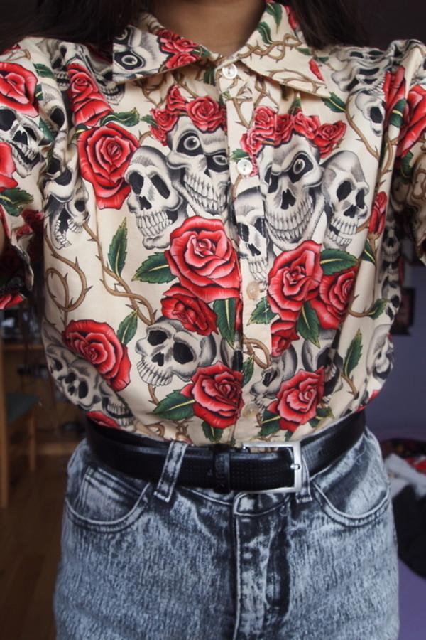 blouse skull skull t-shirt roses t-shirt rose tumblr