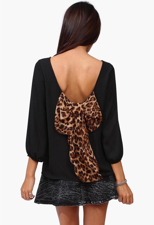 Leopard Print Back Bow Blouse